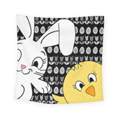 Easter Bunny And Chick  Square Tapestry (small)