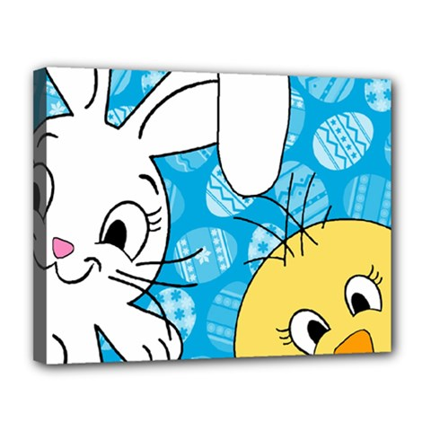 Easter Bunny And Chick  Canvas 14  X 11