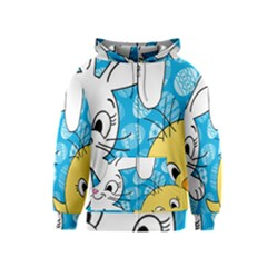 Easter Bunny And Chick  Kids  Zipper Hoodie