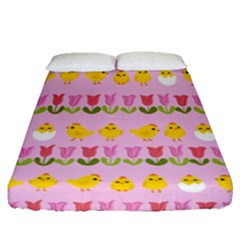 Easter   Chick And Tulips Fitted Sheet (queen Size) by Valentinaart
