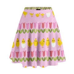 Easter   Chick And Tulips High Waist Skirt