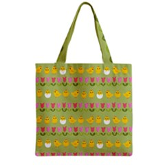 Easter   Chick And Tulips Grocery Tote Bag by Valentinaart