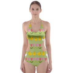 Easter   Chick And Tulips Cut Out One Piece Swimsuit