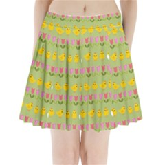Easter   Chick And Tulips Pleated Mini Skirt