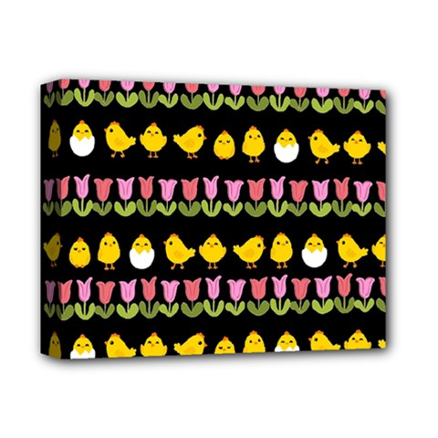 Easter   Chick And Tulips Deluxe Canvas 14  X 11