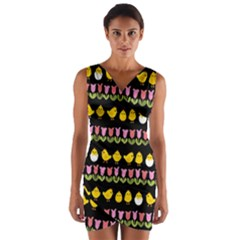 Easter   Chick And Tulips Wrap Front Bodycon Dress