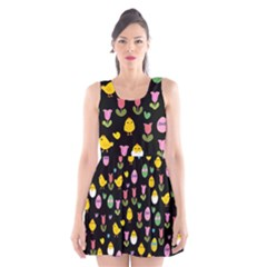 Easter   Chick And Tulips Scoop Neck Skater Dress
