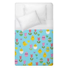 Easter   Chick And Tulips Duvet Cover (single Size) by Valentinaart