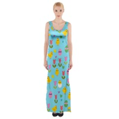 Easter   Chick And Tulips Maxi Thigh Split Dress by Valentinaart