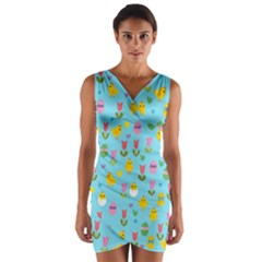 Easter   Chick And Tulips Wrap Front Bodycon Dress by Valentinaart