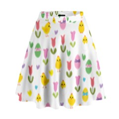 Easter   Chick And Tulips High Waist Skirt by Valentinaart