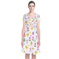 Easter   Chick And Tulips Short Sleeve Front Wrap Dress by Valentinaart