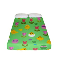 Easter   Chick And Tulips Fitted Sheet (full/ Double Size) by Valentinaart