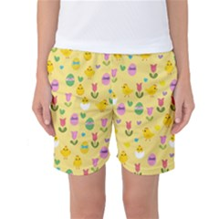 Easter   Chick And Tulips Women s Basketball Shorts by Valentinaart
