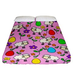 Easter Lamb Fitted Sheet (california King Size) by Valentinaart