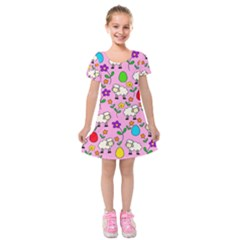 Easter Lamb Kids  Short Sleeve Velvet Dress
