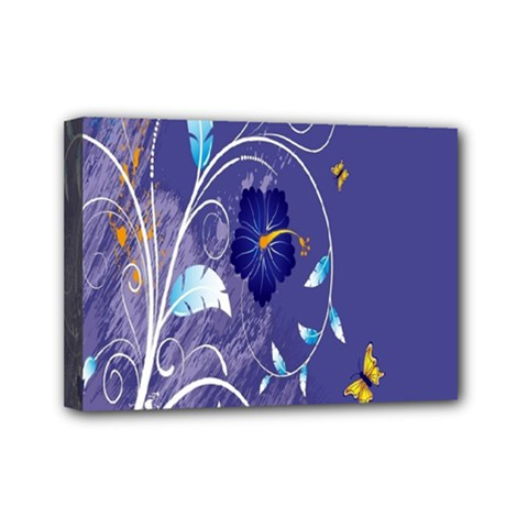 Flowers Butterflies Patterns Lines Purple Mini Canvas 7  X 5  by Mariart