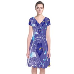 Flowers Butterflies Patterns Lines Purple Short Sleeve Front Wrap Dress by Mariart