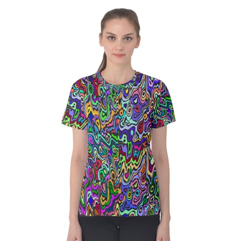Colorful Abstract Paint Rainbow Women s Cotton Tee by Mariart