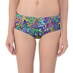 Colorful Abstract Paint Rainbow Mid-waist Bikini Bottoms by Mariart
