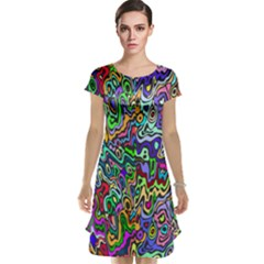 Colorful Abstract Paint Rainbow Cap Sleeve Nightdress by Mariart
