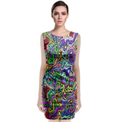Colorful Abstract Paint Rainbow Sleeveless Velvet Midi Dress by Mariart