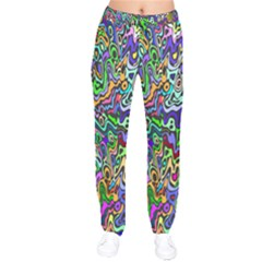 Colorful Abstract Paint Rainbow Drawstring Pants by Mariart
