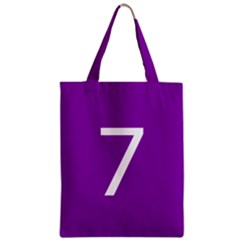 Number 7 Purple Zipper Classic Tote Bag by Mariart