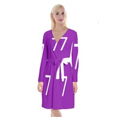 Number 7 Purple Long Sleeve Velvet Front Wrap Dress