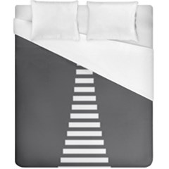 Minimalist Stairs White Grey Duvet Cover (california King Size)