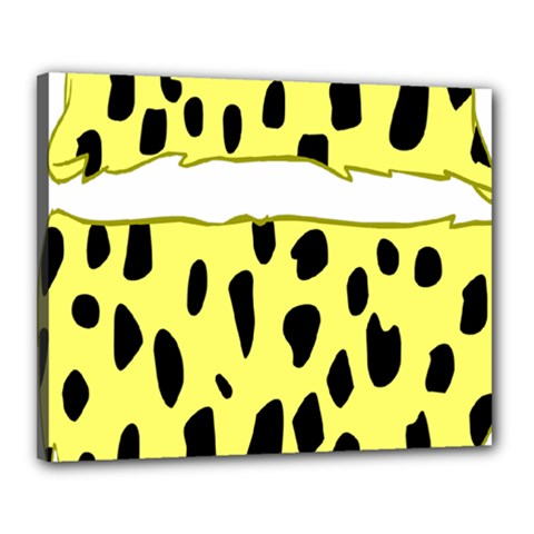 Leopard Polka Dot Yellow Black Canvas 20  X 16  by Mariart