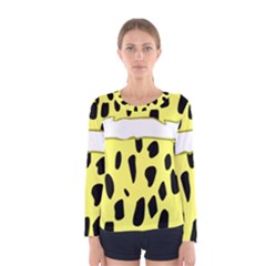 Leopard Polka Dot Yellow Black Women s Long Sleeve Tee by Mariart