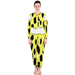 Leopard Polka Dot Yellow Black Onepiece Jumpsuit (ladies)