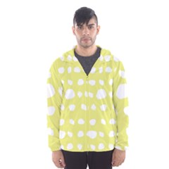 Polkadot White Yellow Hooded Wind Breaker (men) by Mariart