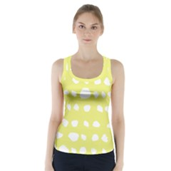 Polkadot White Yellow Racer Back Sports Top