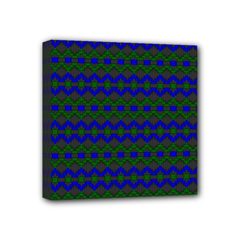Split Diamond Blue Green Woven Fabric Mini Canvas 4  X 4  by Mariart