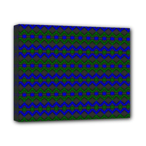 Split Diamond Blue Green Woven Fabric Canvas 10  X 8  by Mariart
