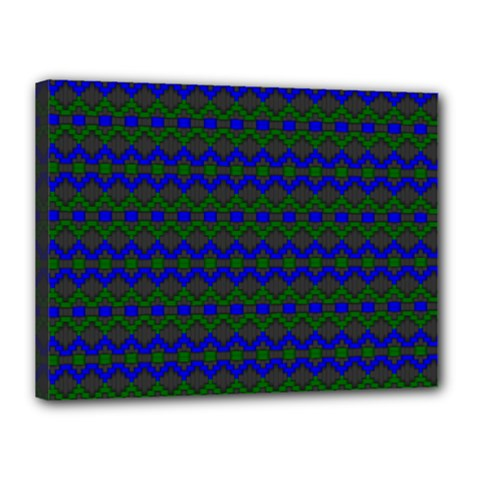 Split Diamond Blue Green Woven Fabric Canvas 16  X 12  by Mariart