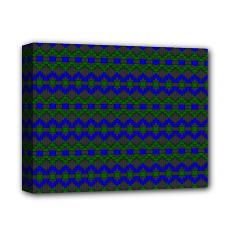 Split Diamond Blue Green Woven Fabric Deluxe Canvas 14  X 11  by Mariart