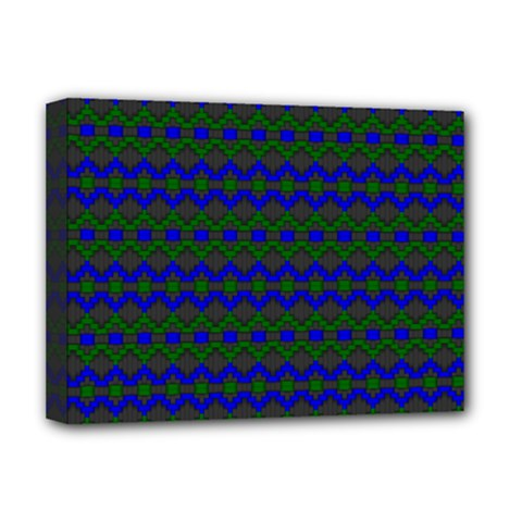 Split Diamond Blue Green Woven Fabric Deluxe Canvas 16  X 12   by Mariart