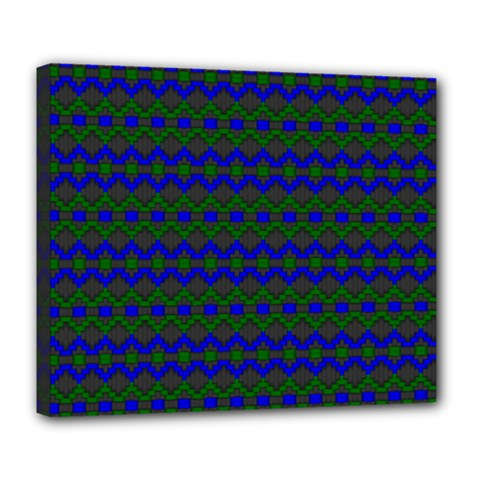 Split Diamond Blue Green Woven Fabric Deluxe Canvas 24  X 20   by Mariart