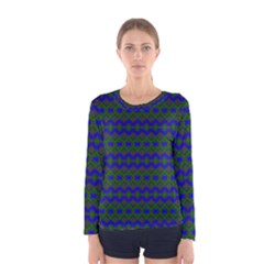 Split Diamond Blue Green Woven Fabric Women s Long Sleeve Tee by Mariart