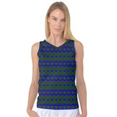 Split Diamond Blue Green Woven Fabric Women s Basketball Tank Top by Mariart