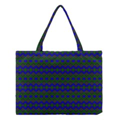 Split Diamond Blue Green Woven Fabric Medium Tote Bag by Mariart