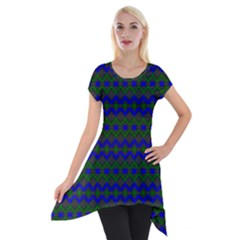 Split Diamond Blue Green Woven Fabric Short Sleeve Side Drop Tunic by Mariart