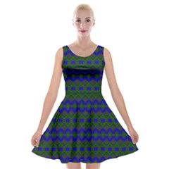 Split Diamond Blue Green Woven Fabric Velvet Skater Dress by Mariart