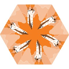 Rocket Space Ship Orange Mini Folding Umbrellas by Mariart