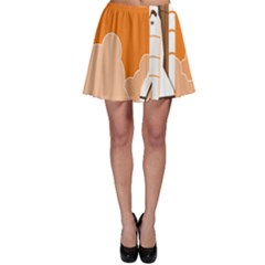 Rocket Space Ship Orange Skater Skirt by Mariart