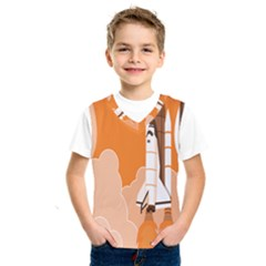 Rocket Space Ship Orange Kids  Sportswear by Mariart