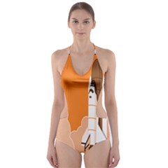 Rocket Space Ship Orange Cut Out One Piece Swimsuit by Mariart